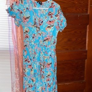 Floral maxi dress with shorts attached